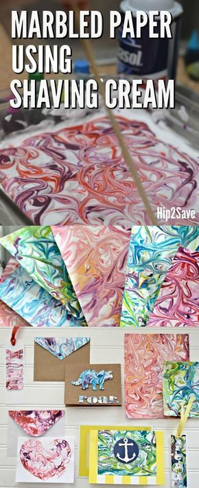 How to Marble Paper Using Shaving Cream (FUN Craft Idea!) - Hip2Save #craftprojects