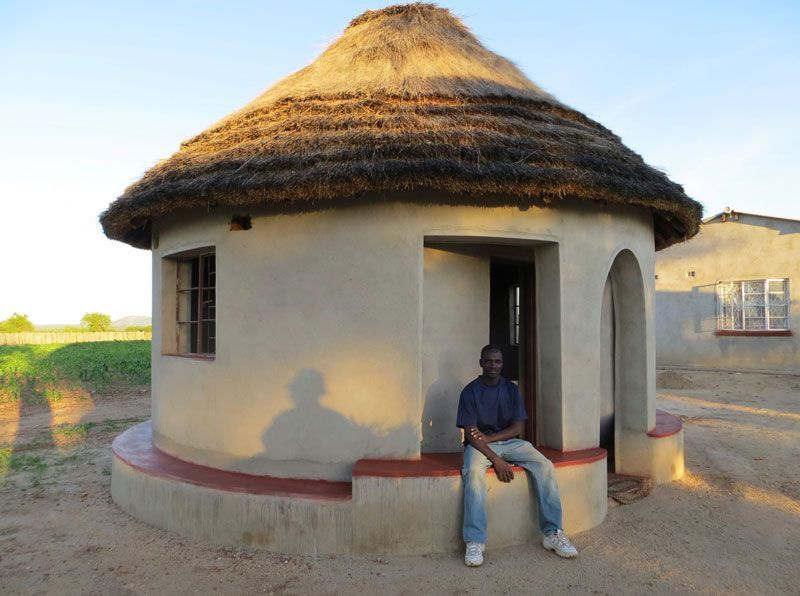 Enthusiasm Grows In Mazvihwa To Replace The Concrete Boxes Built As Being Modern But Too Hot Cold And Bo Round House Plans Small House Design Plans Mud House Modern rural house designs zimbabwe