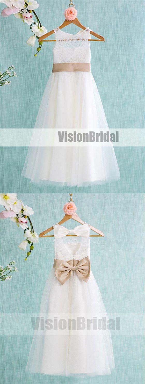 Lovely white simple flower girl dresses long cheap flower girl
