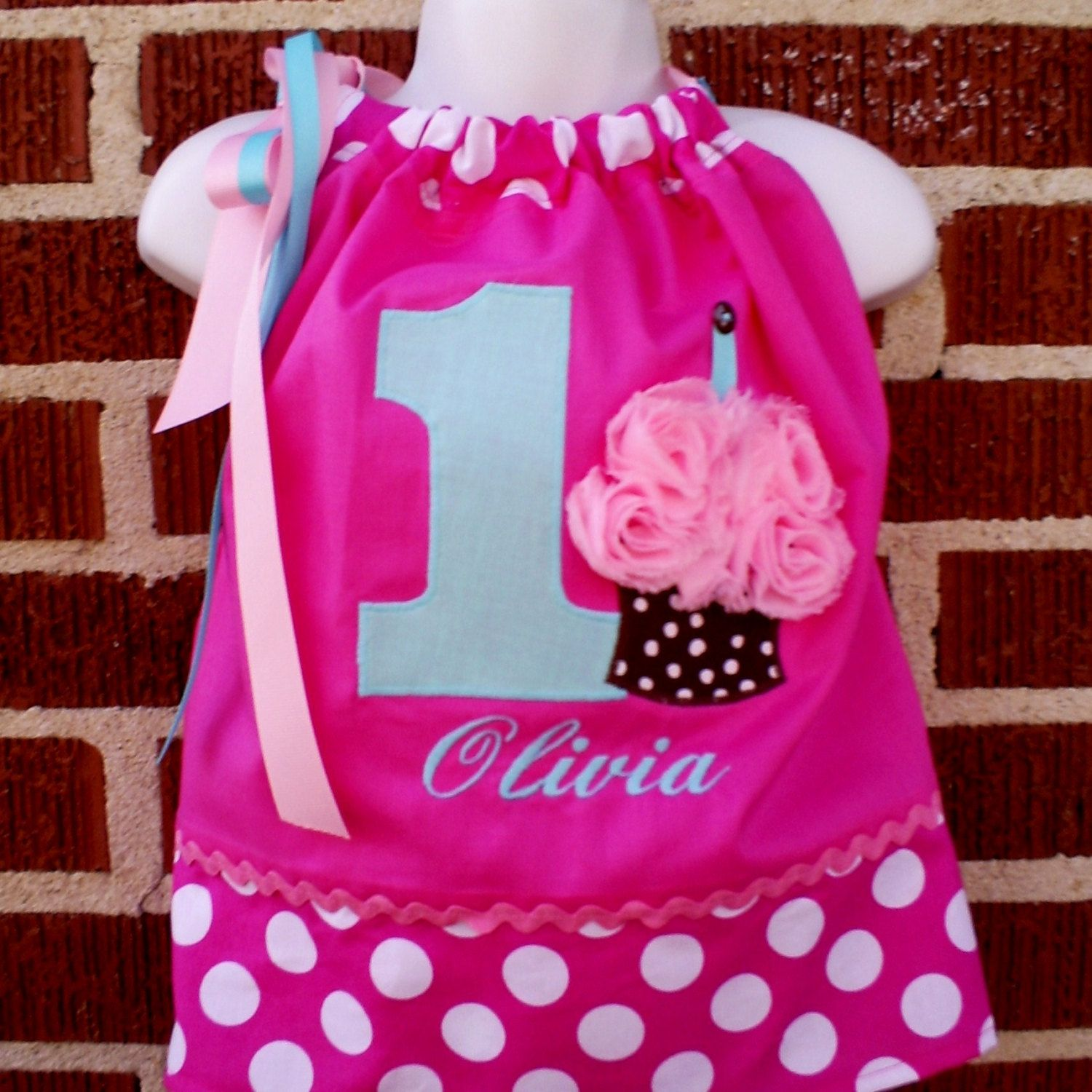 Pinkalicious Cupcake BIRTHDAY Party Pillowcase DRESS in Pinks/Aquas- Custom Personalized 9 mo 12 mo 18 mo 24mo/2T 3T 4T 5T 1st 2nd 3rd 4th. $32.00, via Etsy.