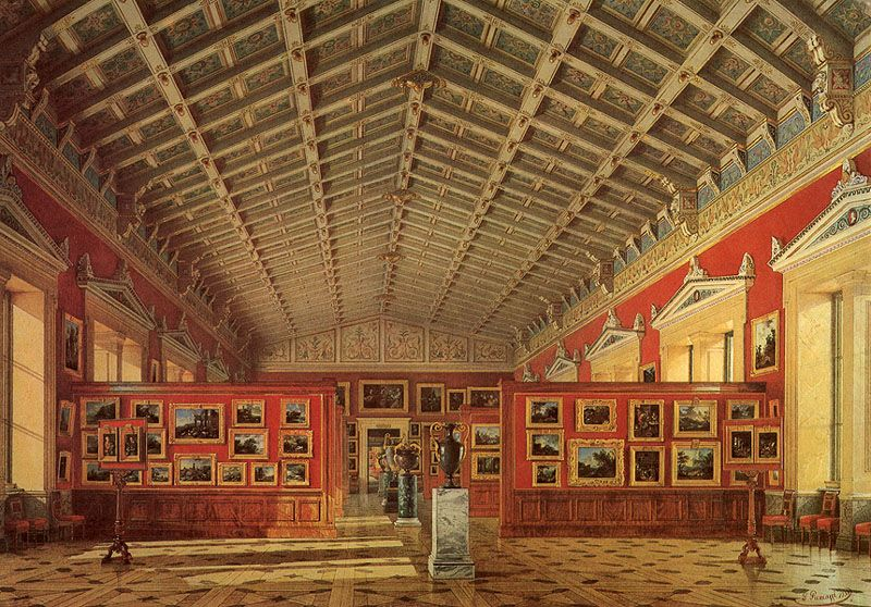 Л. Премацци Зал голландской и фламандской школ Акварель. 292x419. 1858 г.