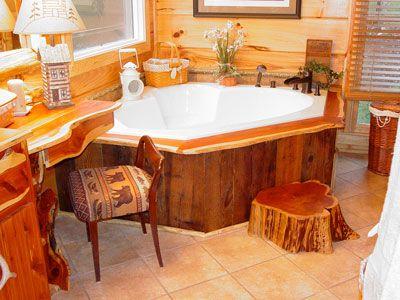 Cedar Log Furniture Plans | ... Cedar. A Cedar Stump Is Used As The Step  Completing The Rustic Decor