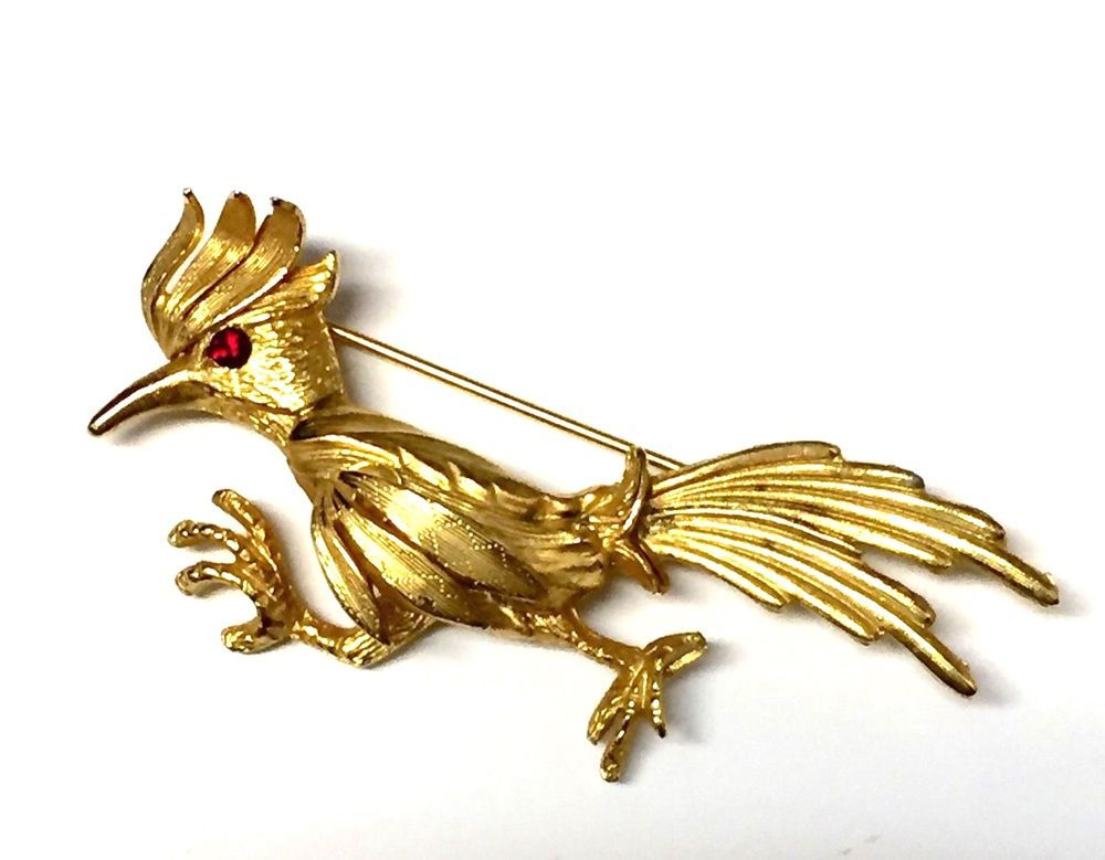 90ab2c802c85 Beautiful Vintage Gold Tone Road Runner Bird Red Eye | Brooches ...