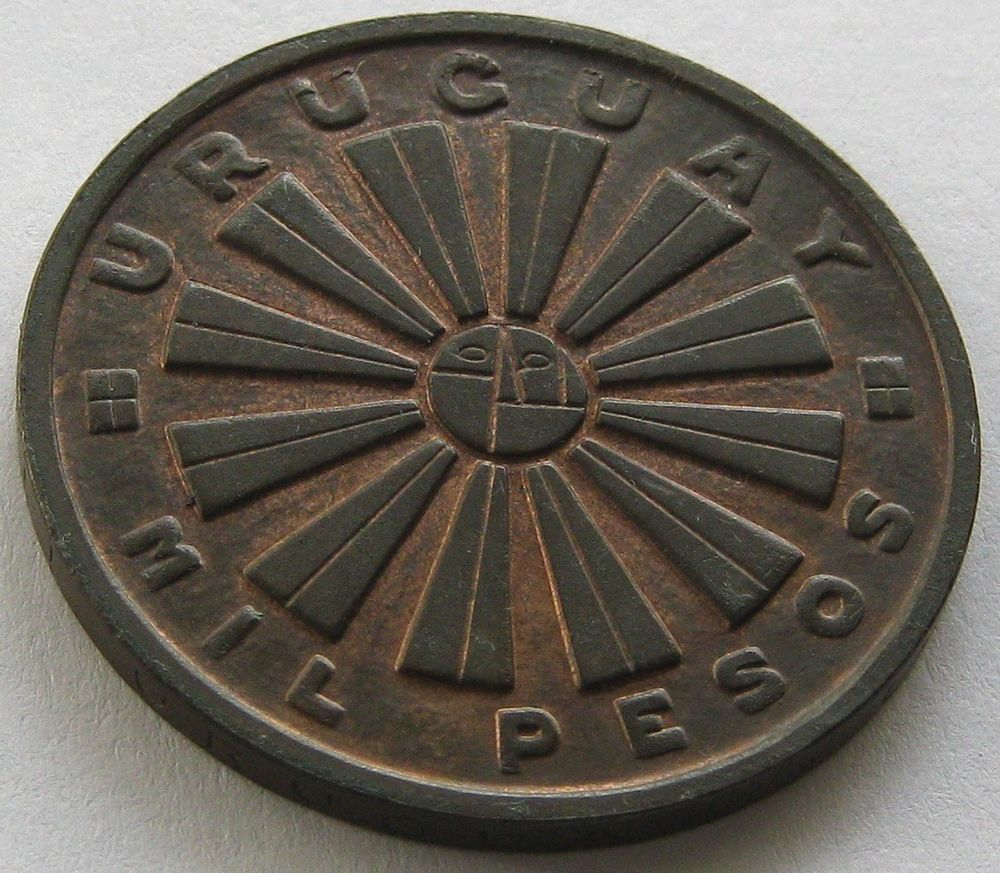 Uruguay, Copper Coin, 1000 Pesos 1969 So, Very Scarce, only 11.000 minted, UNC !