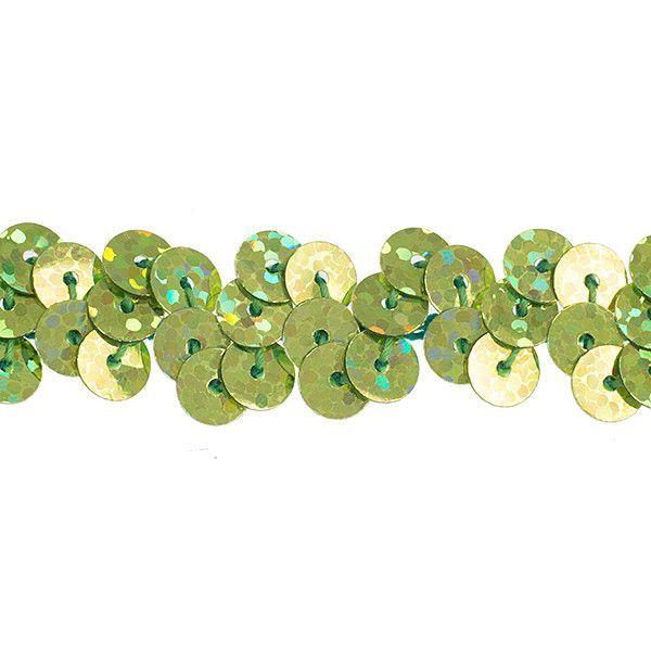 Stretchy Sequins Single Row Hologram Trim - Lime Green (6mm)