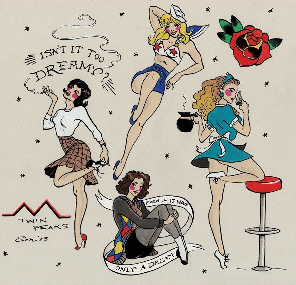 Twin peaks vintage pinup tattoo designs pinup tattoo for Pin up tattoo flash