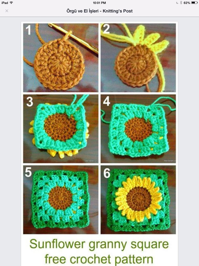 Sunflower granny square | AFGHANS | Pinterest | Mantillas bebe ...
