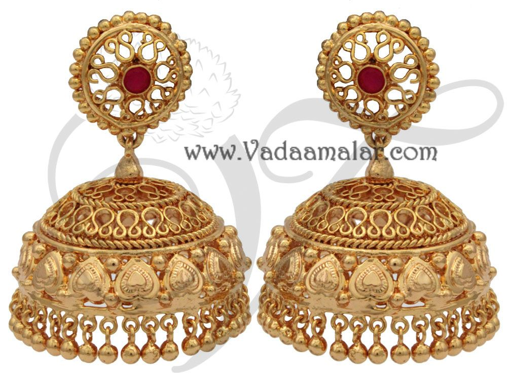 0d08849fc Large Gold Plated Large Jhumki Jhumka Jhumkas Indian earring earstuds