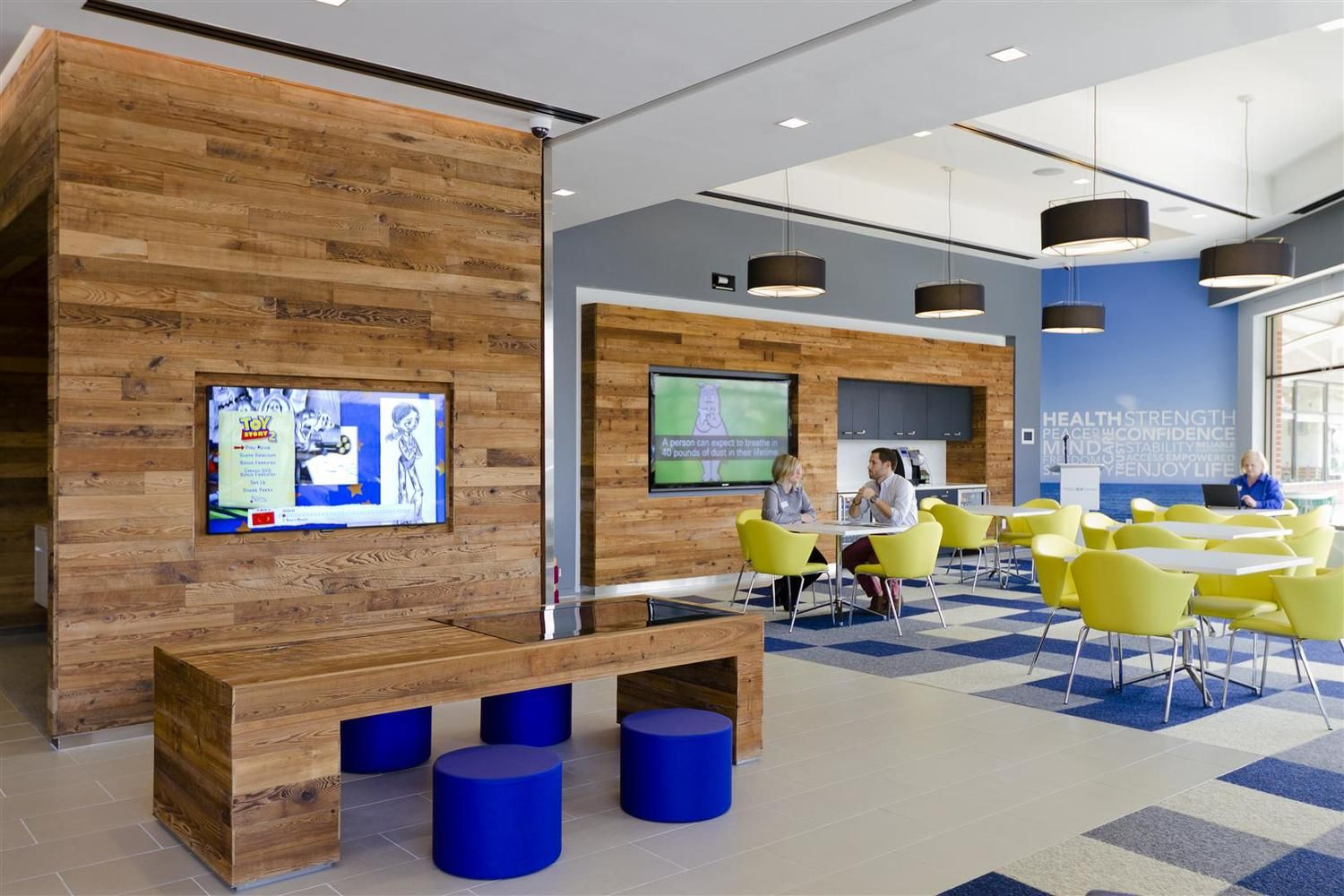 fun, colorful, mixture of materials Doctor office design