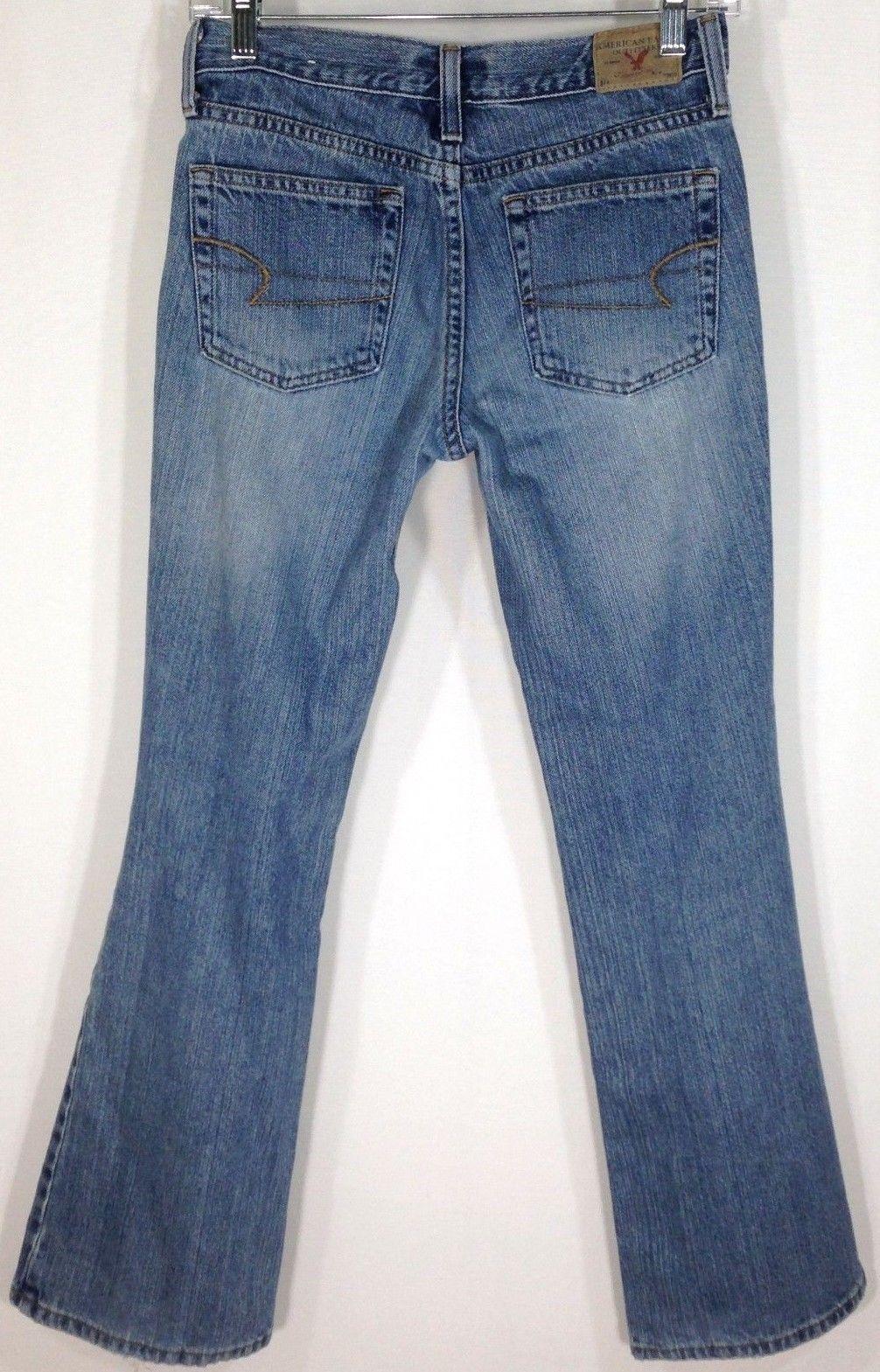 half off 38f6d 910fe 22.00 USD  American Eagle Womens Size 2 Petites Medium Wash Low Rise  Flare Denim Jeans