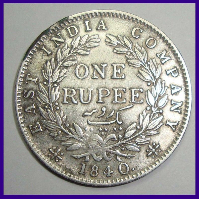1840 Victoria Queen One Rupee Silver Coin East India Company Silver Coins Coins Old Coins Value