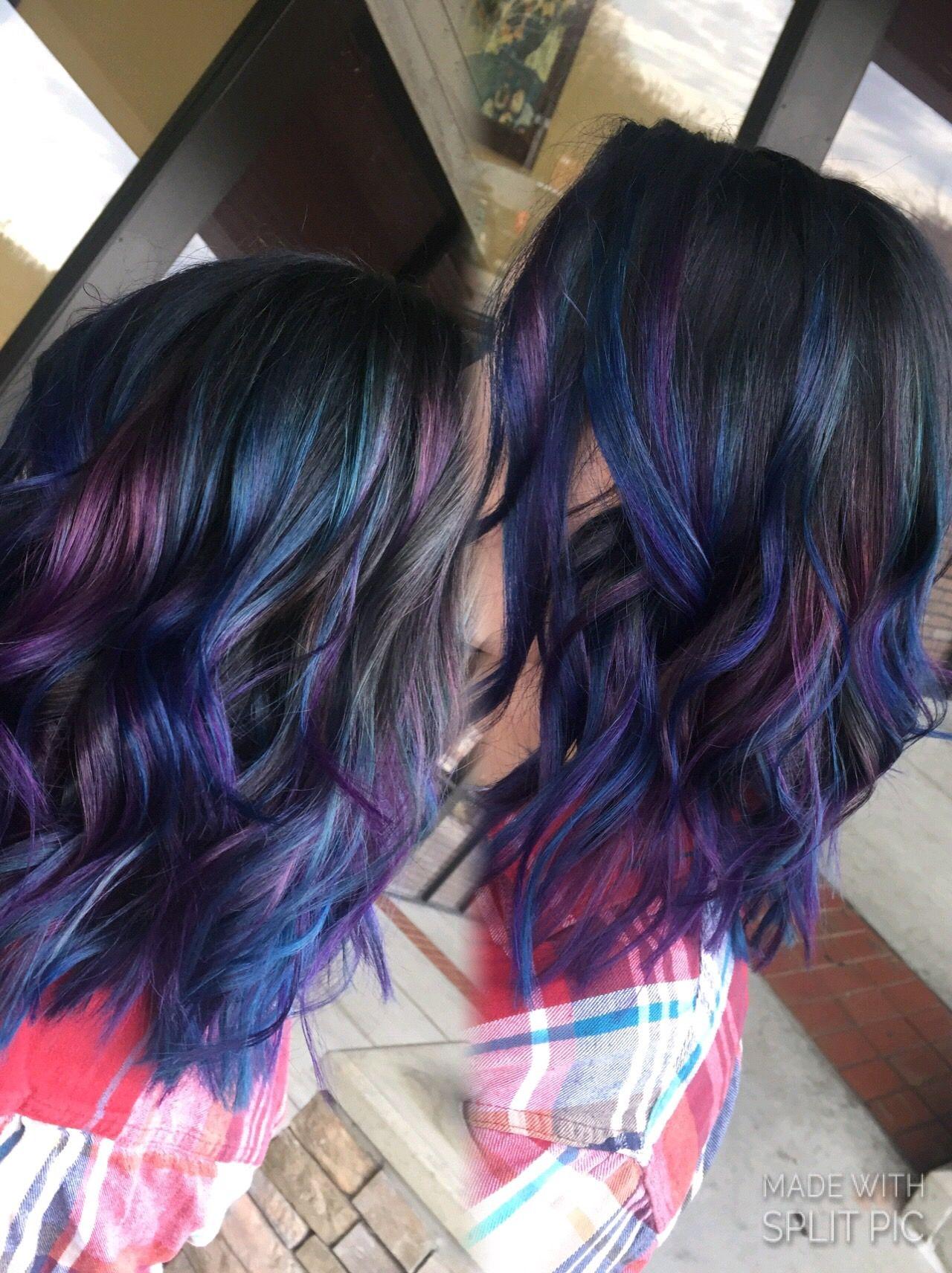 Blue And Purple Hair Dark Root Purple Hair
