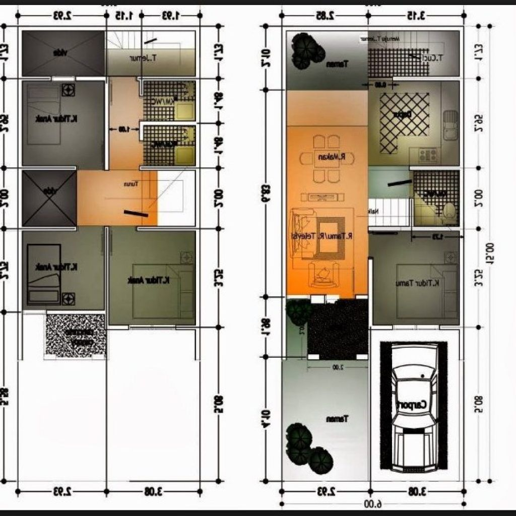 Gambar Denah Rumah Minimalis Ukuran 6x10 Terbaru Pinterest Desain
