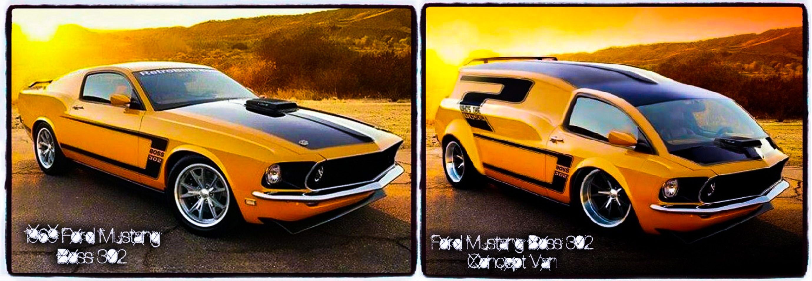 On the left a 1969 ford mustang boss 302 and on the right a photo shopped ford mustang boss 302 concept van