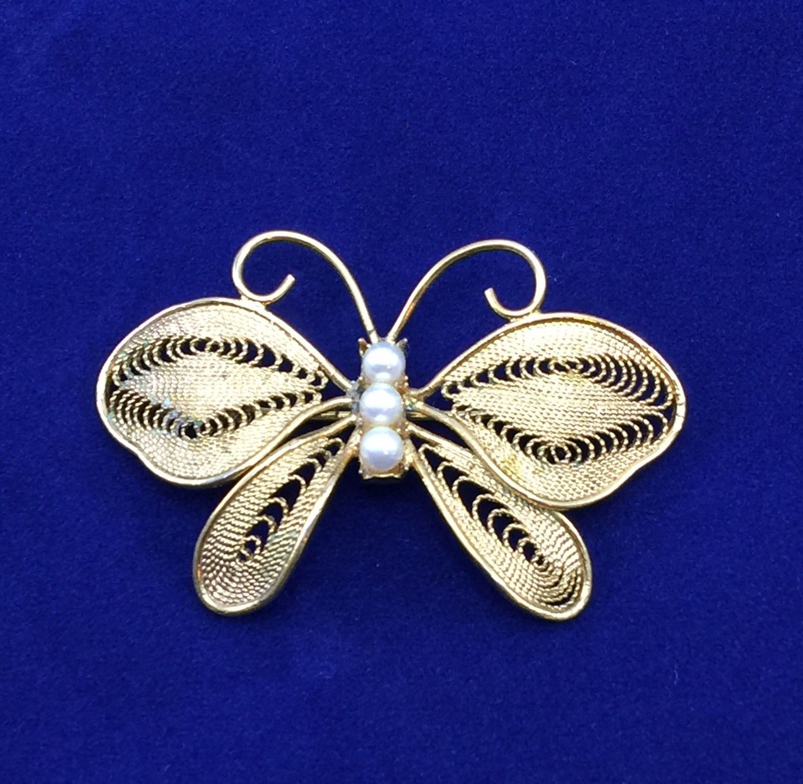 Details about Vintage Napier Gold Tone Faux Pearls Butterfly