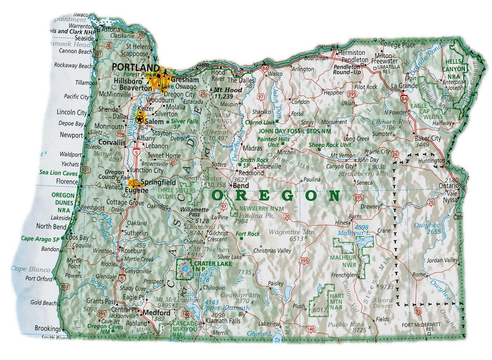 Oregon Map With Cities Oregon Map America Map Map