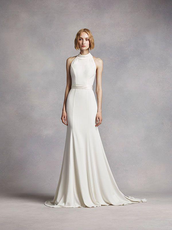 White By Vera Wang High Neck Halter Wedding Dress David S Bridal High Neck Wedding Dress Trendy Wedding Dresses Wedding Dresses Vera Wang
