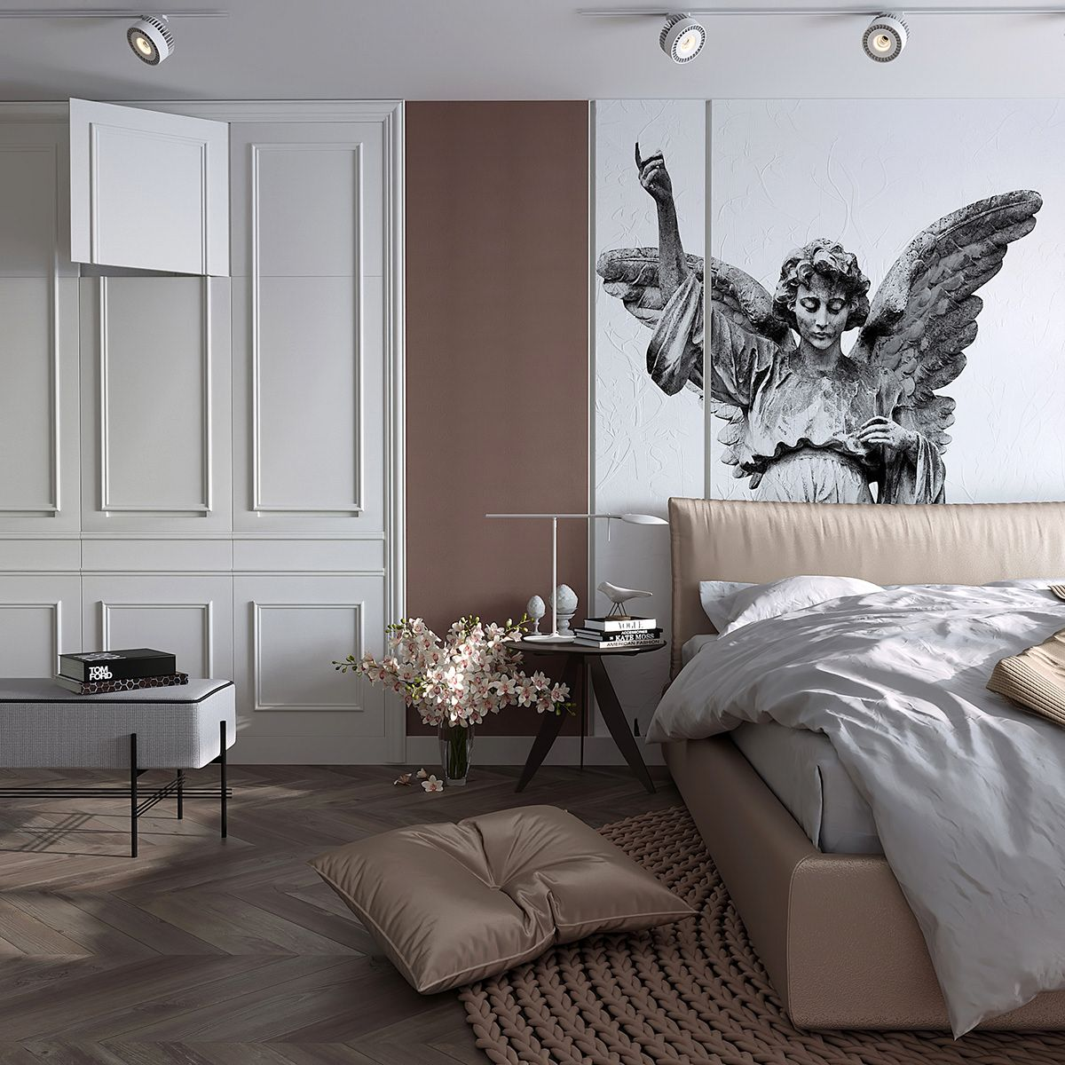 Bedroom In Contemporary Style On Behance: Feminine Bedroom Design Concept On Behance