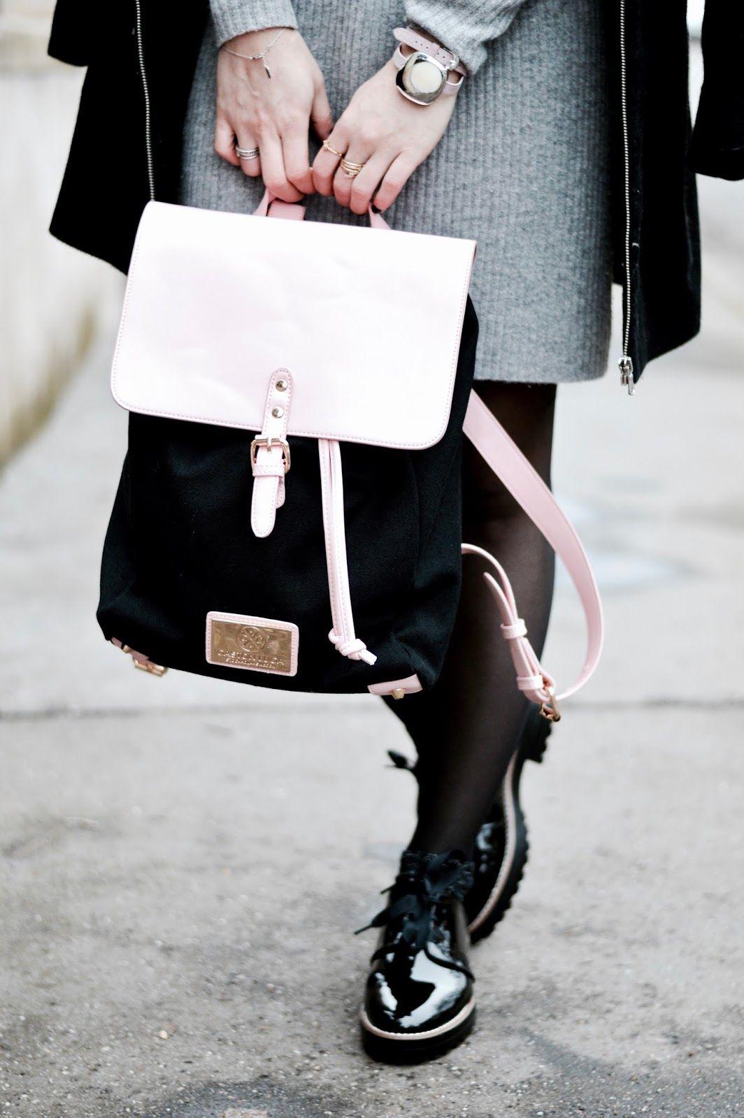 d884060ac3c59 Look femme hiver   sac à dos Gaston Luga et derbies vernies   TENUES ...