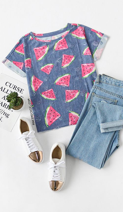 b0ab4a83 Blue Watermelon Print Short Sleeve T-shirt | MakeMeChic.COM | Make ...
