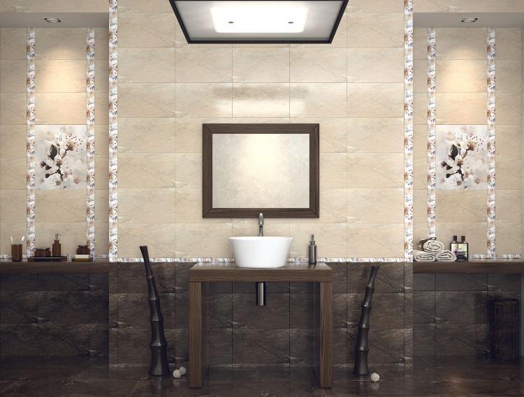 Carrelage de salle de bains 57 id es pour les murs et le for Carrelage blanc rectangulaire