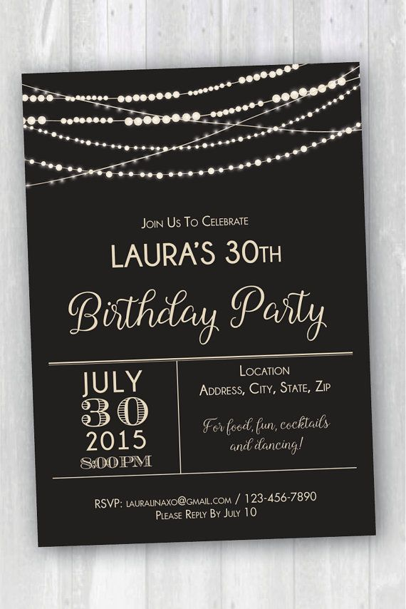 Printable Fairy Lights Birthday Invitation by ShopLauralina ...