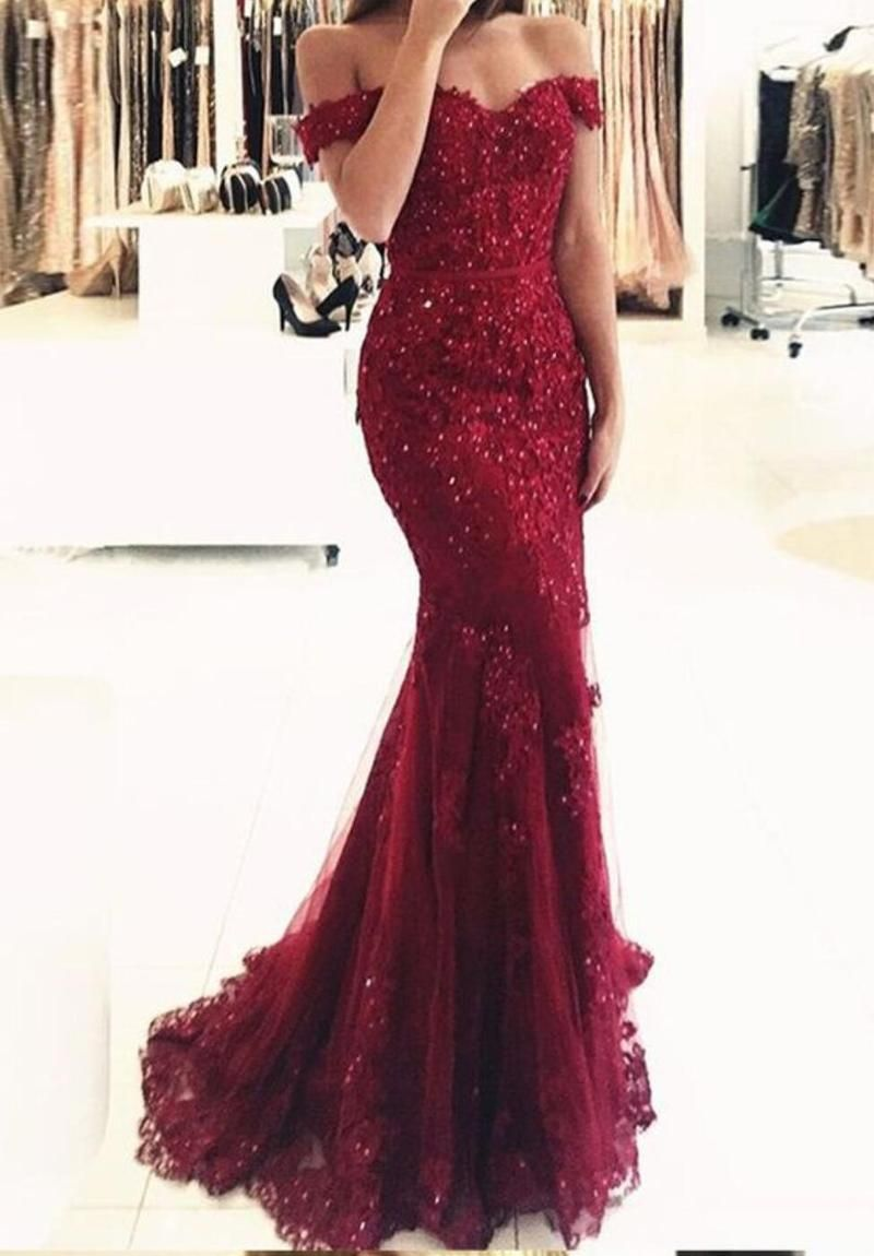 Off shoulder burgundy lace beaded evening mermaid prom dresses long