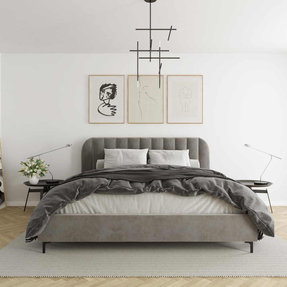 Dhp Callie Upholstered Bed King Size Frame Light Gray Velvet