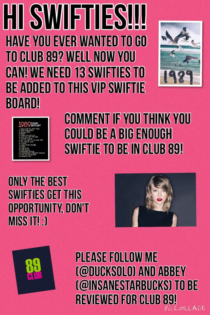The official name is Club Swift! I put is as Club 89 on here so you would get the idea of the Club. :) Comment it up! @DuckSolo @InsaneStarbucks!