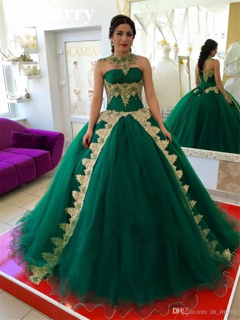 fb030fe3569f Turquoise Ball Gown Overskirt Masquerade Quinceanera Prom Dresses 2017 Gold Lace  Appliques Crystals Sweet 16 Birthday