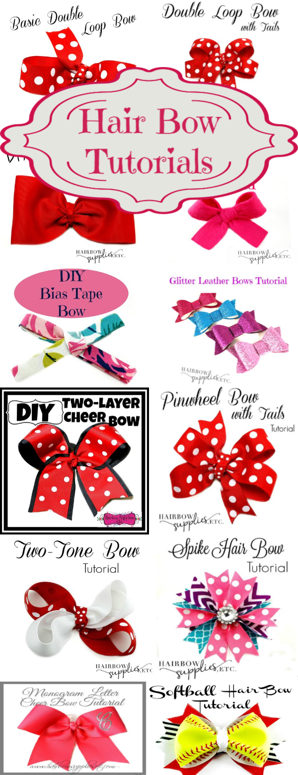 How to Make Hair Bows - Over 50 Free Tutorials - Hairbow Supplies, Etc. #hairbows