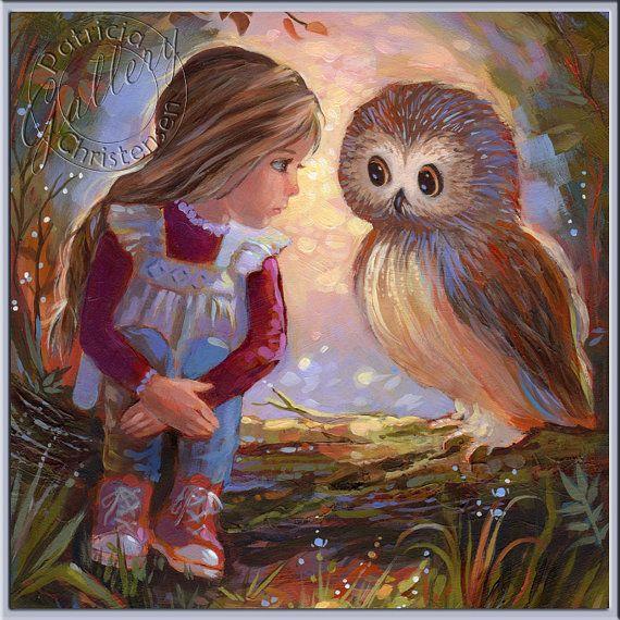 Art pour enfants  hibou et petite fille disant Secrets forêt