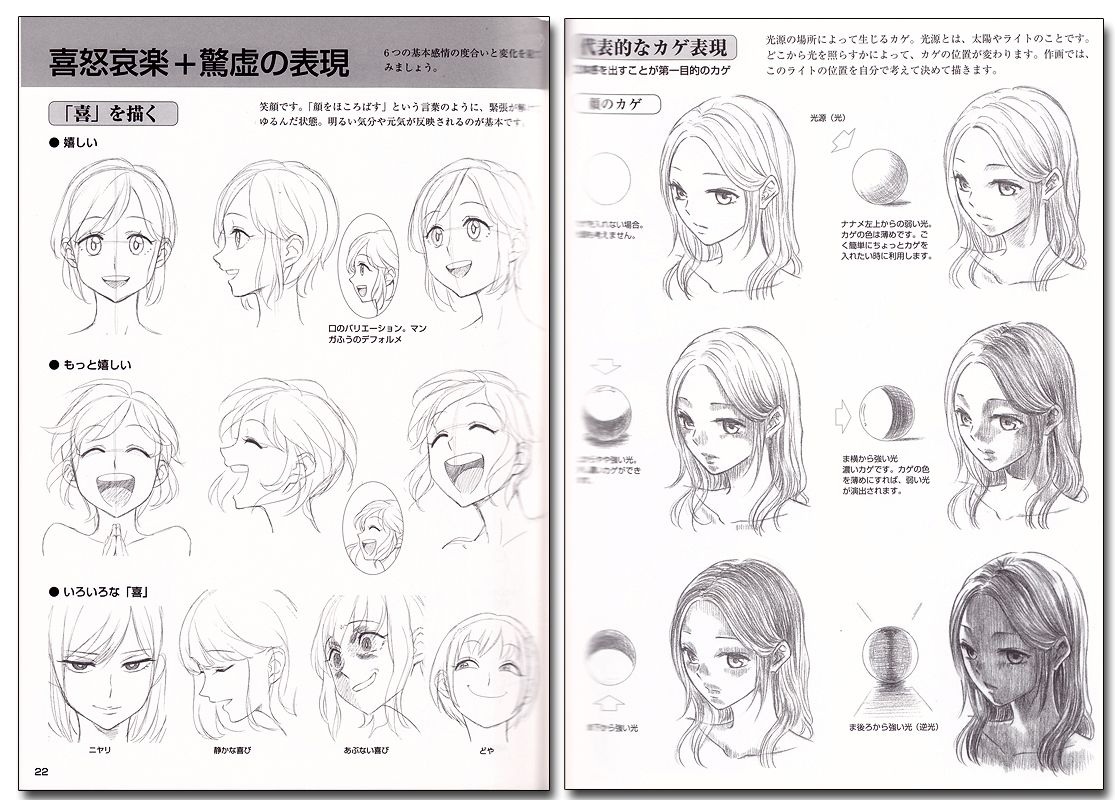 How To Draw Manga Characters' Facial Expressions Reference Book Anime Books