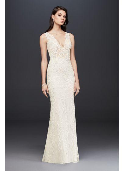 Plunging Illusion Bodice Lace Wedding Dress SWG772 | Megan wedding ...
