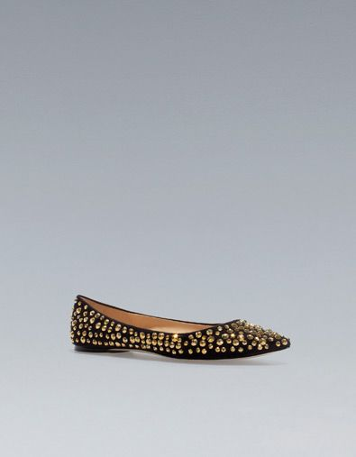 FLAT COURT SHOE WITH RHINESTONES - Shoes - Woman - New collection - ZARA United Kingdom