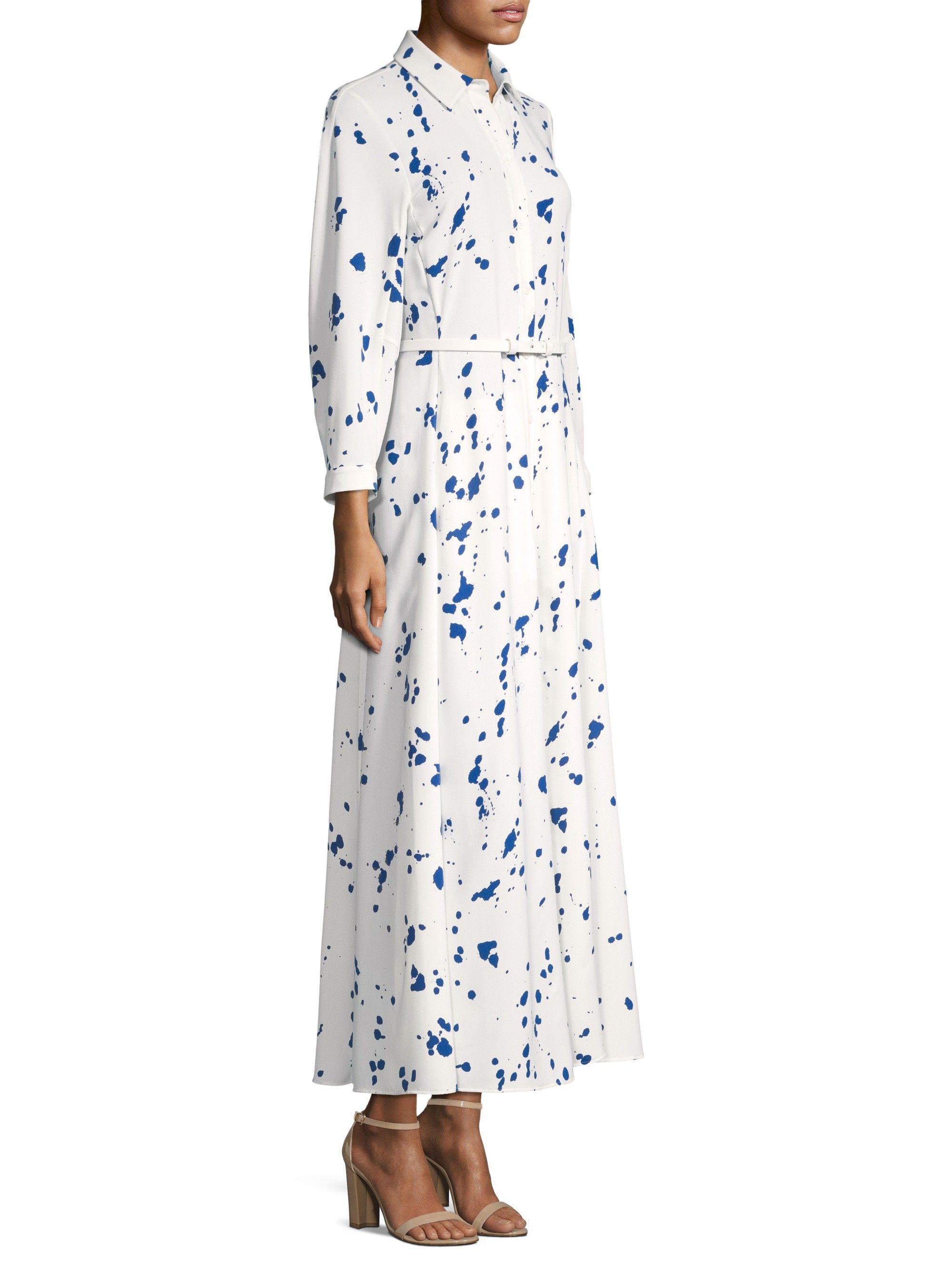 Lafayette 148 New York Siya Painterly Silk Shirt Dress