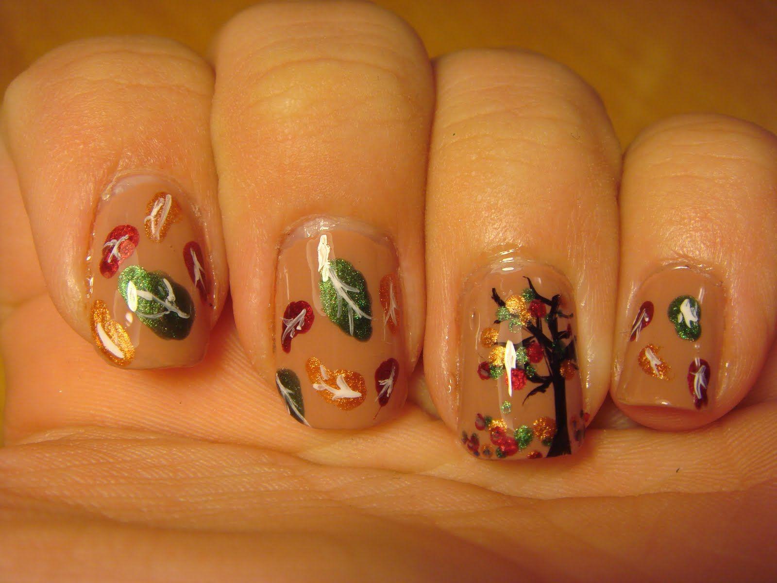 fall nail art | FALLING LEAVES NAIL ART DESIGN | Nail Art Designs ...
