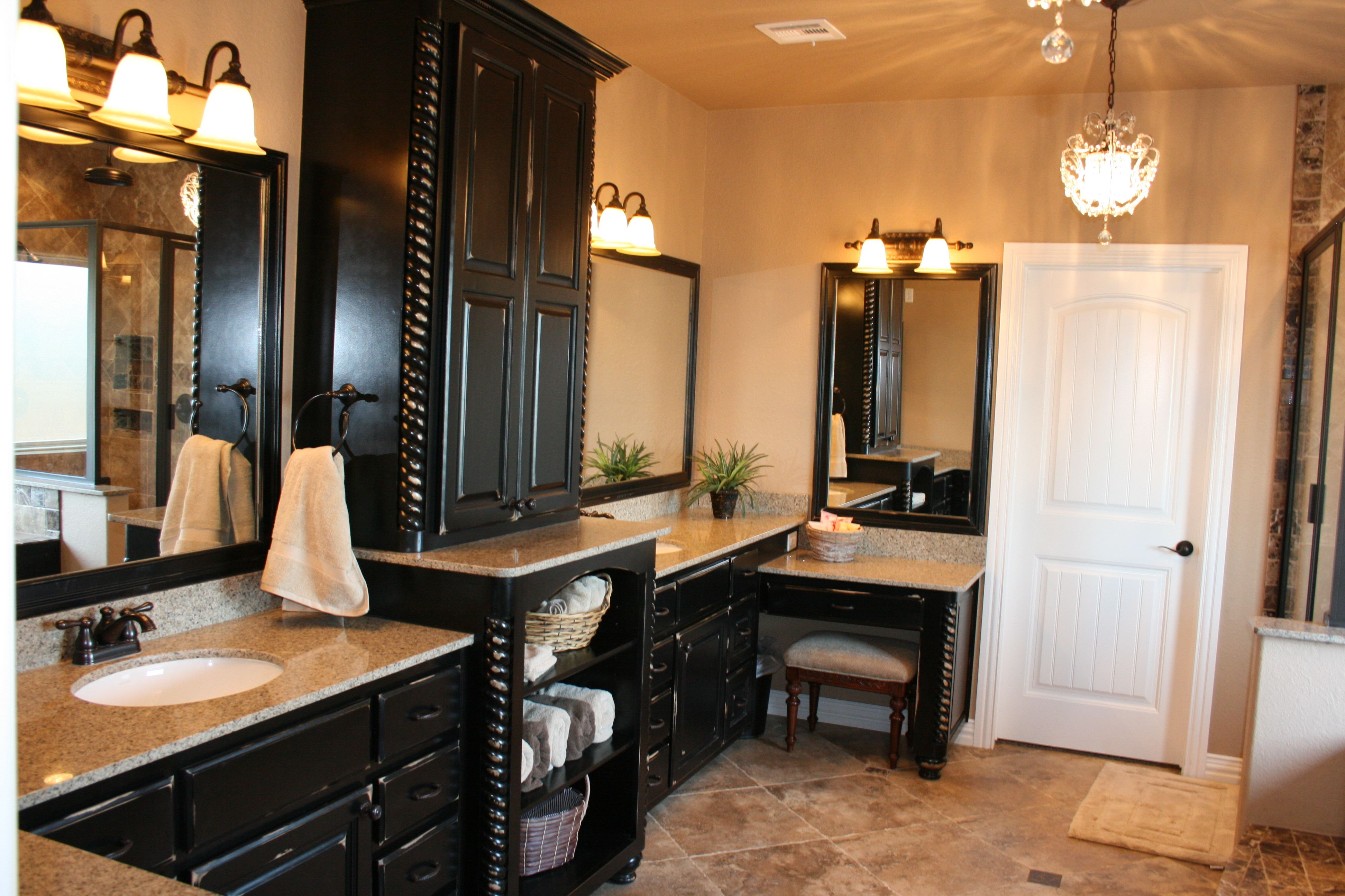 Bathroom Vanity For Interior Wooden Furniture Drawers Also Counter Top And  Double Vanity Feat Mirror With Lamps On Wall Through Black Bathroom Vanities