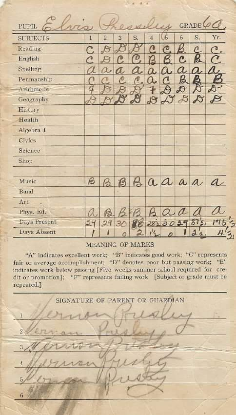 July 3, 1949 Elvis got his 8th grade report card from Humes High