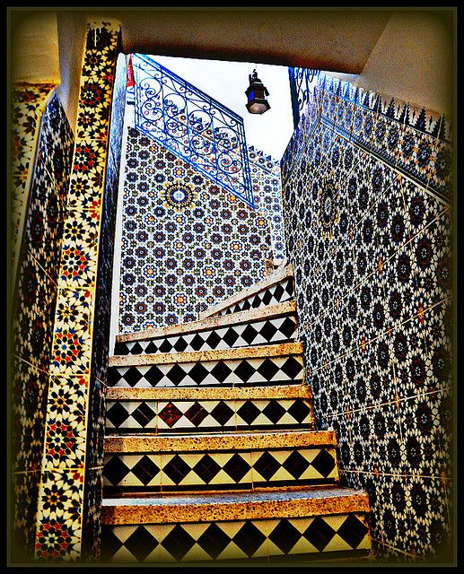 Moroccan Tiles Navy Blue And Yellow Is A Clic Combo Seen In Lot Of Cultures Taroudant Morocco
