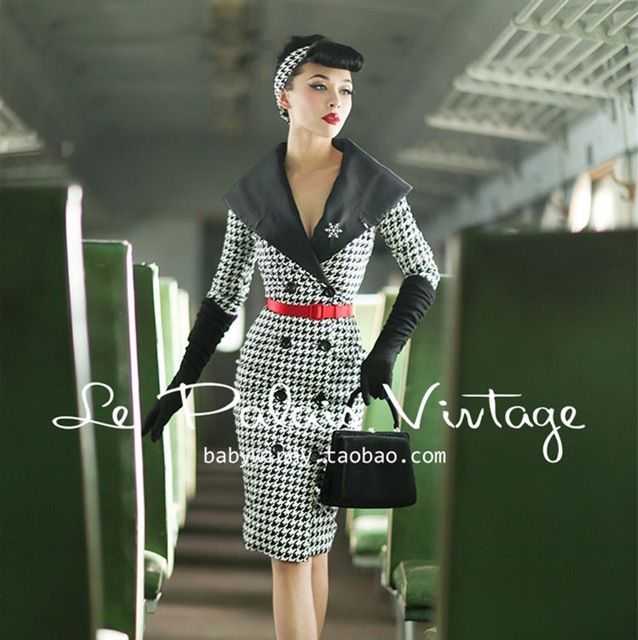 9742cb86f3 Le palais vintage women 50s houndstooth long sleeve wiggle vestidos pin up  pencil shirt dress plus size elegant mujer dresses