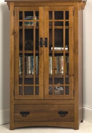 Mission Bookcase With Drawer And Wood Framed Glass Doors Bookcase With Drawers Bookcase Bookcase With Glass Doors