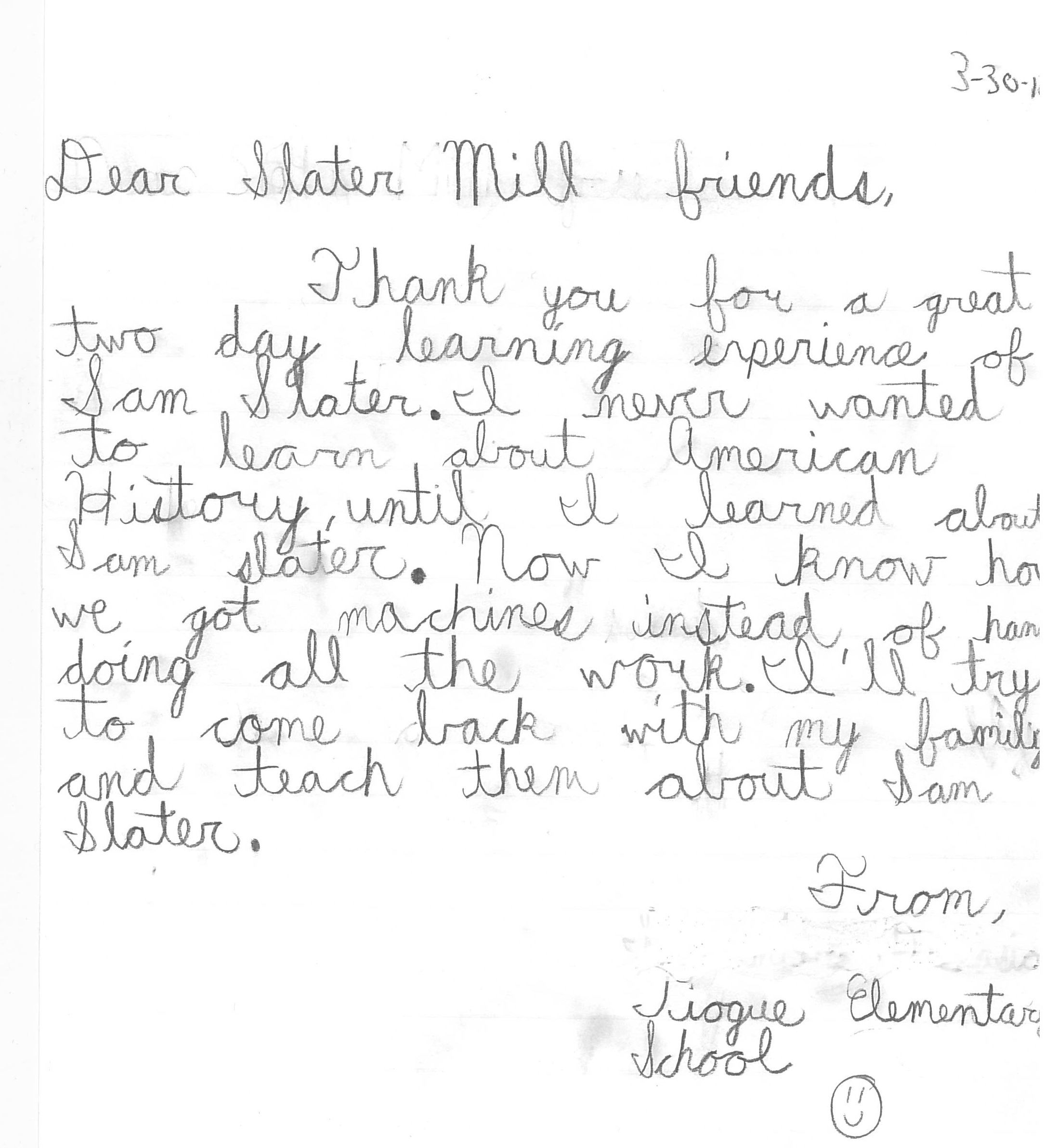 Thank You Note From An Elementary School Student After Their Field