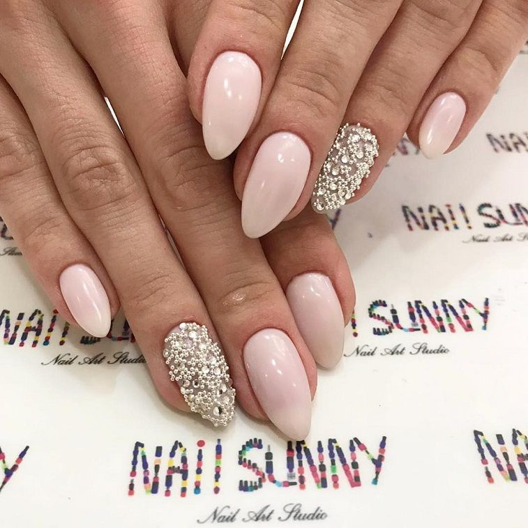 Blush pink nail art design
