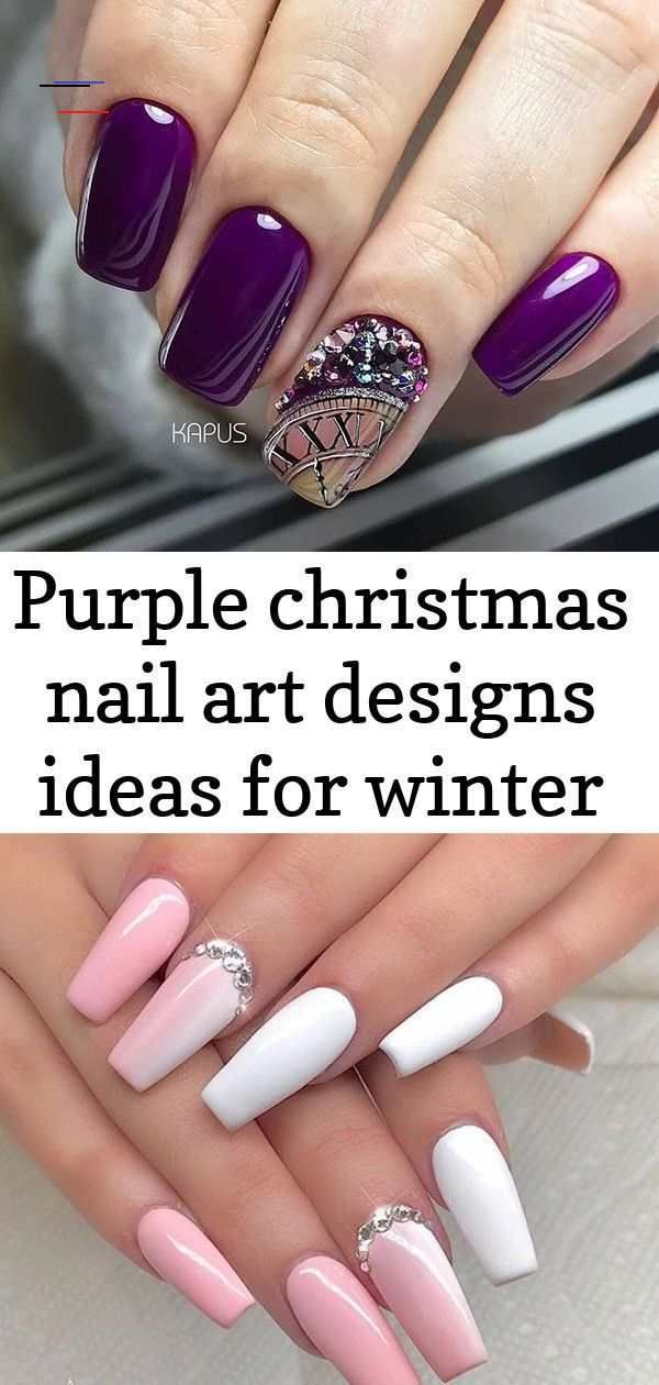 Purple Christmas Nail Art Designs Ideas For Winter Light pink gel coffin nails design, Acr…