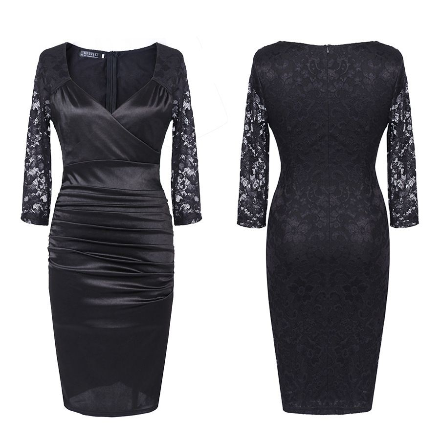 Patchwork lace halfsleeve vneck sheath evening bodycon party dress