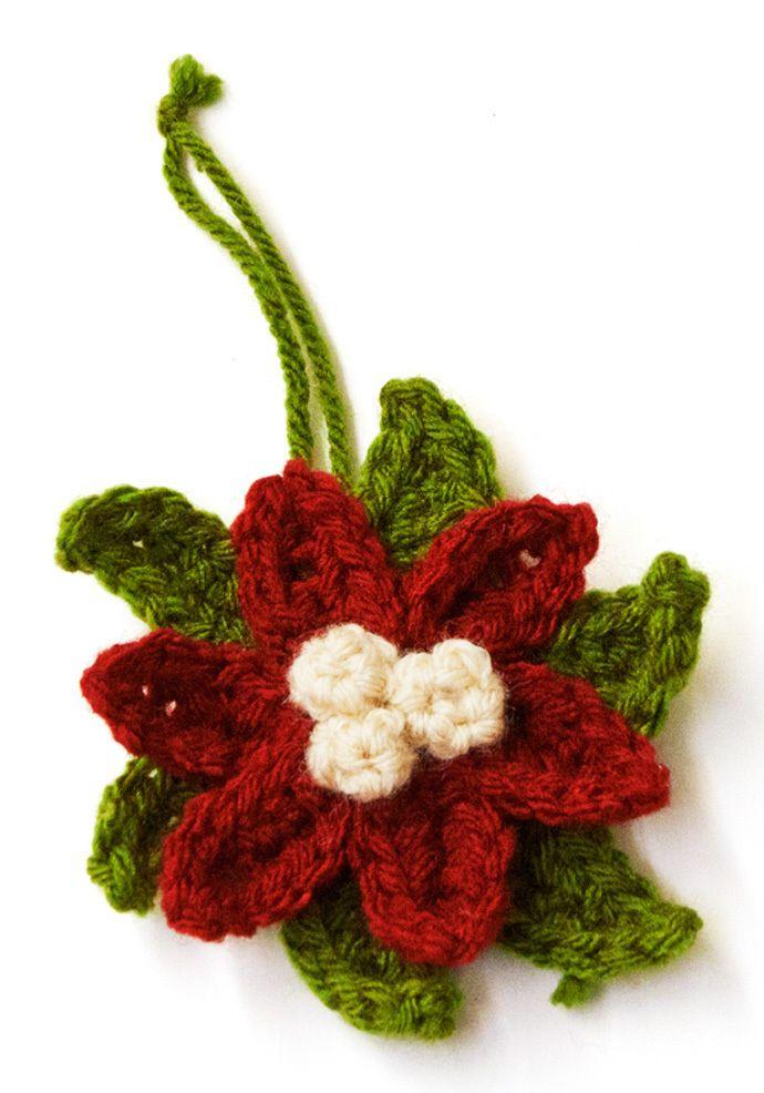 Crochet Poinsettia Ornament | gehäkelte Blumen, Blüten und Häkeln