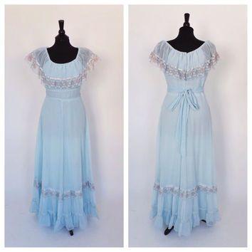 ice blue 1970 prom hippie dress   Vintage 1970s Gauzy Cotton Gown ...