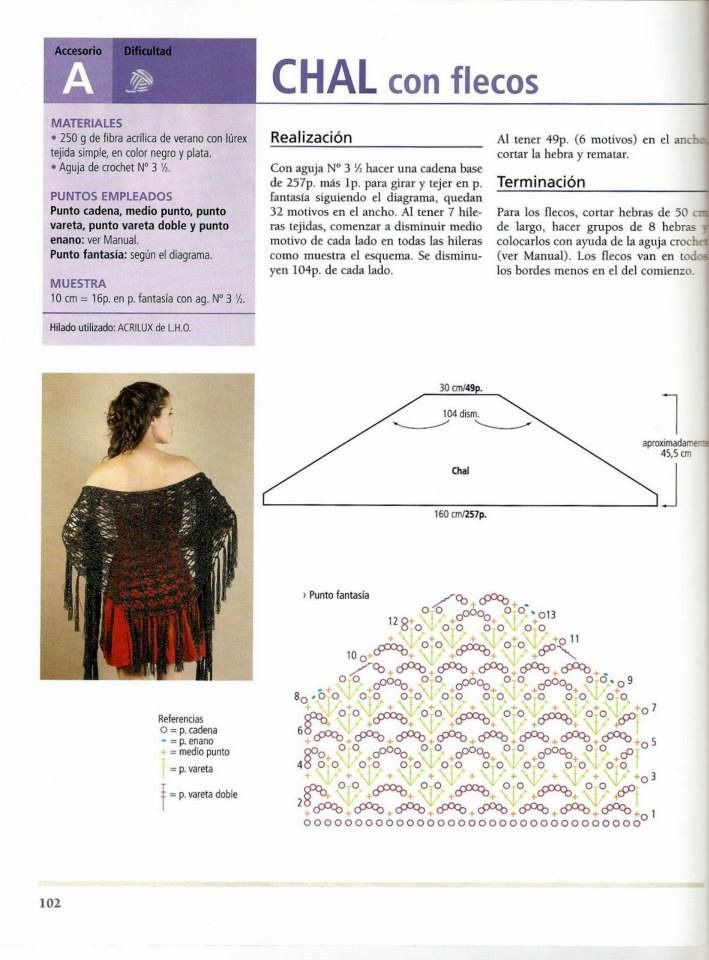 Chal con Flecos facil de hacer. Patron - Patrones Crochet | SHAWL ...