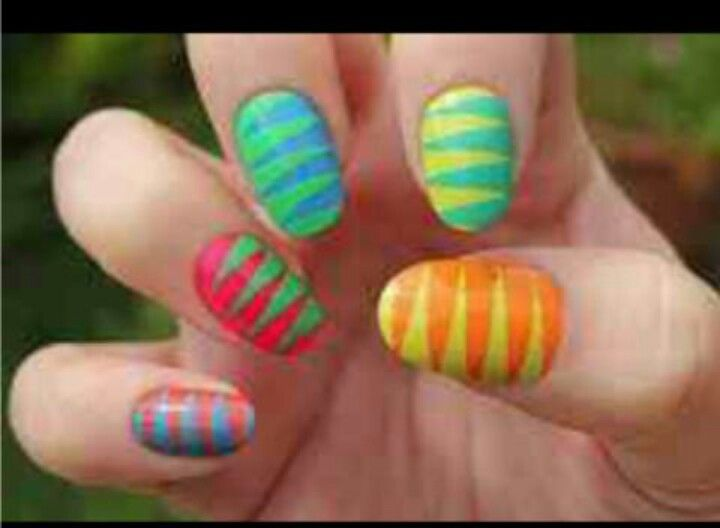Summer neon gradient with black and white glitter | Pretty nail art, Manicure inspiration